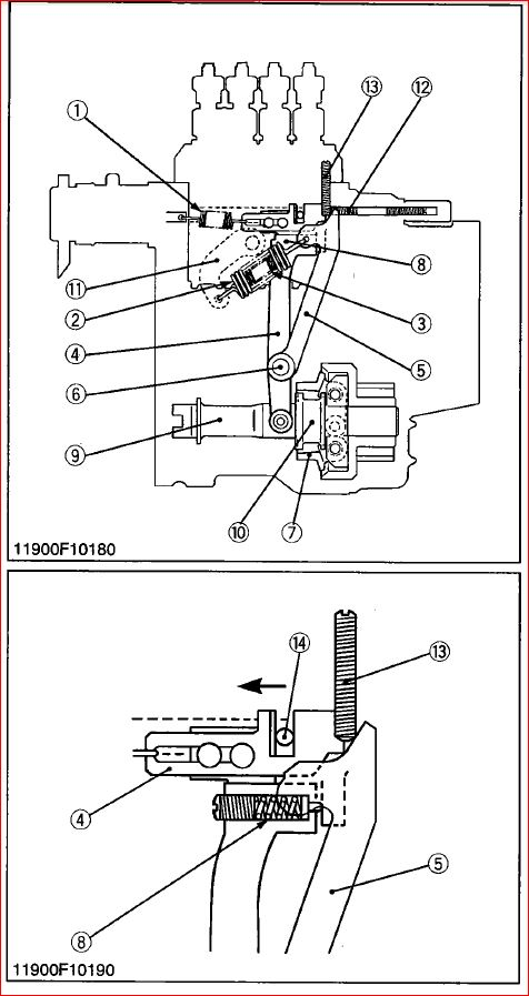 D905E injector pump governor springs and linkage arms