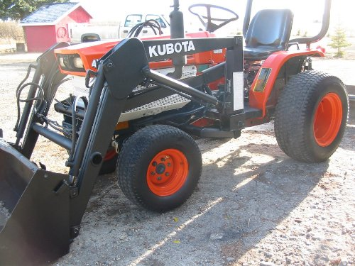 A Kubota B6200 - tires ballasted with 50/50 water and antifreeze.
