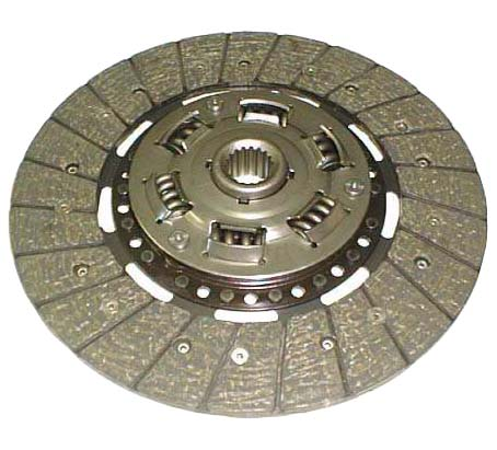 A typical dry clutch with asbestos friction material. The springs relieve load shock and help smooth clutching action.