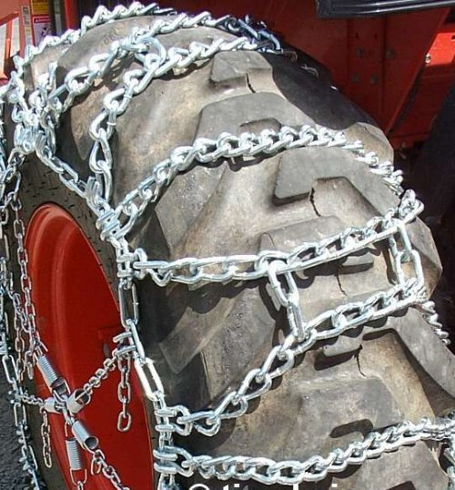 Duo ladder chains, typically not used on hard surfaces such as pavement or concrete.