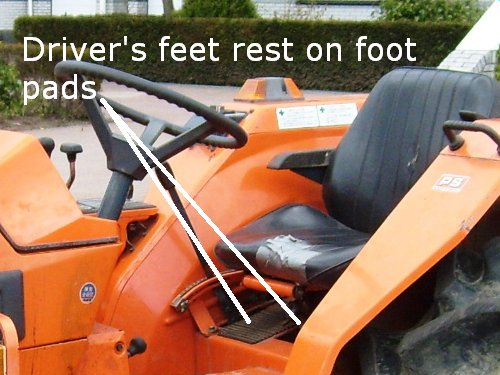 Driver's feet rest on foot pads that are normally under the seat.