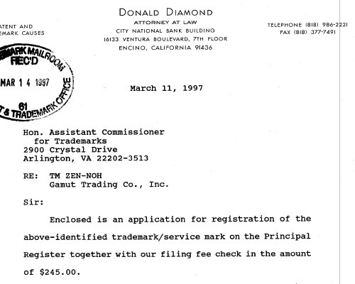 A cover letter dated March 11th from Gamut's lawyer sent to the United States Trademark Office.