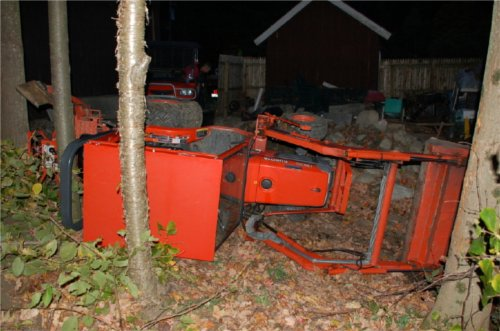 We know at least one person who will be picking 'I wish my Kubota was not tipped over on its side in the woods'... special thanks to Jim Lillie for being a good sport and posting this image in our gallery.