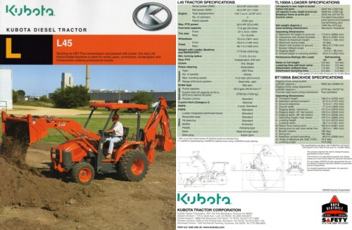 Outside cover and inside details of the Kubota's L45 brochure. Click image to see inside.
