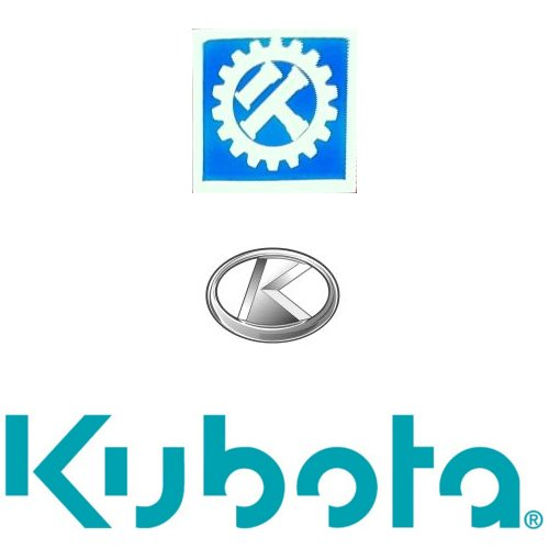Some of Kubota's trademarks. (top) The classic gear and pipe logo used for many years (middle) the stylized K (bottom) their new logo.
