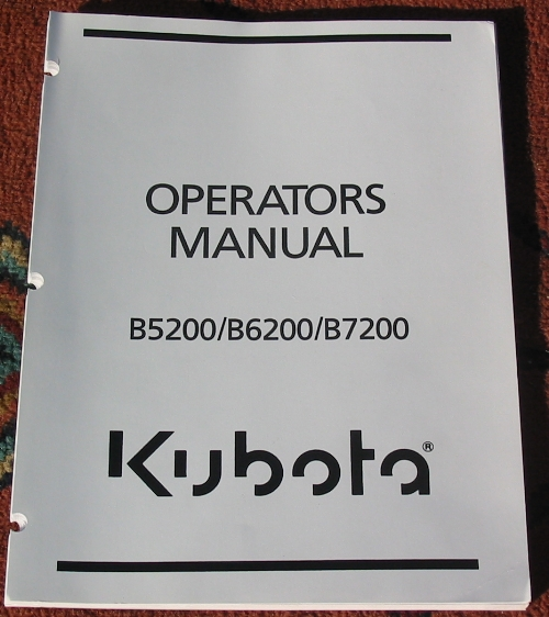 What a typical Kubota operator's manual looks like