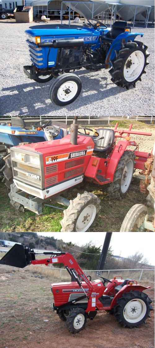 Other tractors models commonly imported from Japan: (top) Iseki TS1610 (middle) Shibaura P19 (bottom) Yanmar 2020