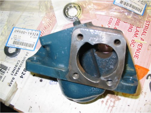 A bare steering box ready for a rebuild.