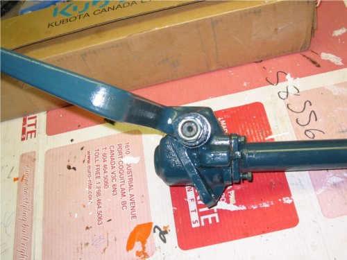 Steering box, column and pitman arm removed from the tractor and ready to inspect on the workbench.