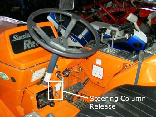 Steering wheel release located next to the PTO speed lever.