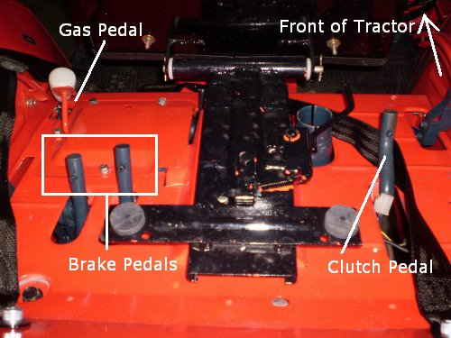 Redundant gas, brake and clutch pedals are located under the seat (shown here tipped forward). Photo credit: <em>OrangeTractorTalks</em> reader Keith