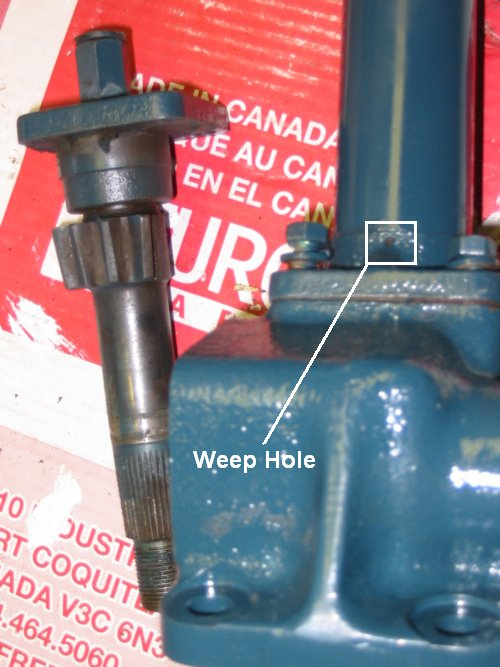 At the bottom of the steering column is a weep hole that serves to let accumulated water out of the shaft. They typically get plugged with dirt and crud as shown here.